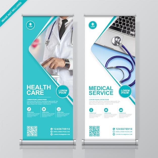 医療と医療のロールアップと立ち客のバナーデザインテンプレート Premiumベクター