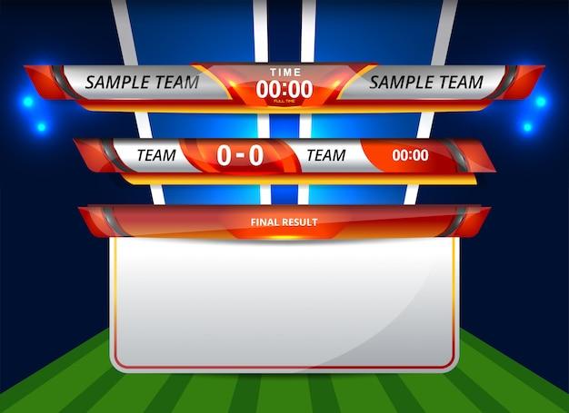 スポーツとサッカーのローワーサードテンプレート Premiumベクター