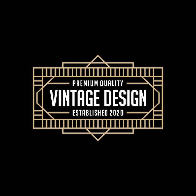 Элегантная рамка старинный логотип дизайн шаблона Premium векторы