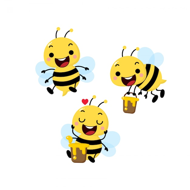 Симпатичные пчелы вектор Premium векторы