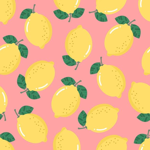 レモンのシームレスなパターン。有機健康フルーツの背景。 Premiumベクター