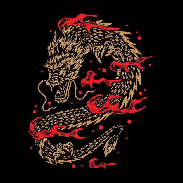 Иллюстрация дракона Premium векторы