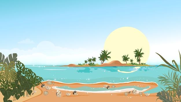 パノラマビュー島、パノラマの海のビーチと青い空と砂の上の青い海とヤシの木の熱帯の海の風景、夏休みの風景海辺のベクトル図フラットスタイル自然 Premiumベクター