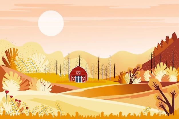 オレンジ色の空と秋のパノラマ風景ファームフィールド Premiumベクター