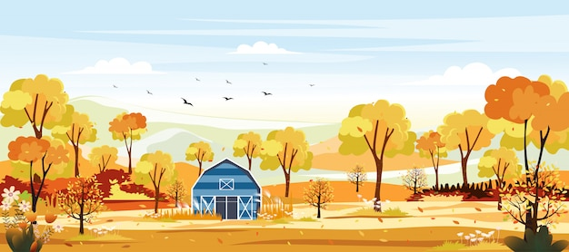 秋の田舎のパノラマ風景。黄色の葉の農場で中秋のパノラマ。秋の不思議の国の風景。 Premiumベクター
