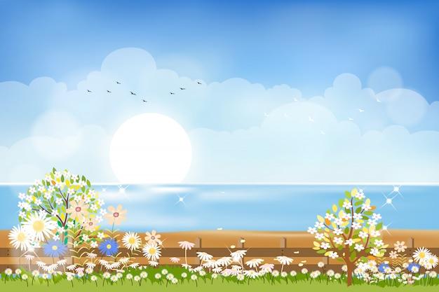 Лето природа фон, просматривая от сада до моря пляж с солнцем, голубым небом и облаками Premium векторы