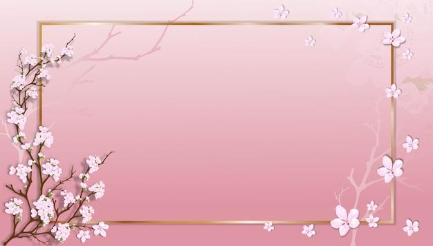ピンクのパステル調の背景にゴールデンフレームと桜の枝を持つ春販売テンプレート。 Premiumベクター