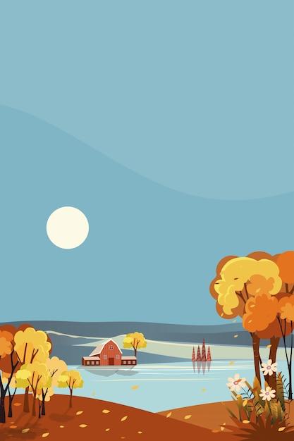 Вертикальная фантазия панорамы сельской местности осенью. панорамный середины осени с домом фермы озером с солнцем и голубым небом. ландшафт на сезоне падения в оранжевой листве. Premium векторы