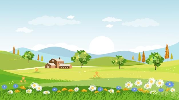 春の村のパノラマビュー Premiumベクター