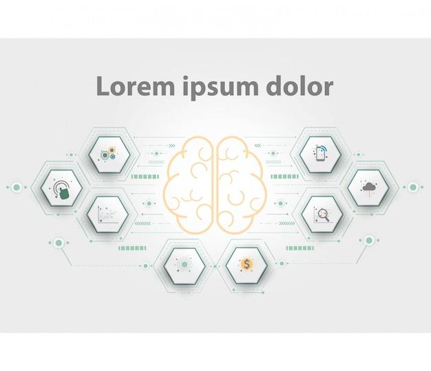 プレゼンテーション用の脳のロゴタイプ Premiumベクター