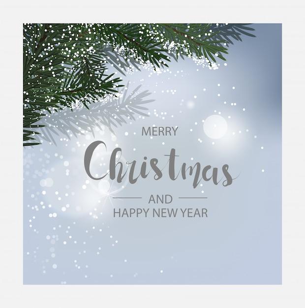 水平方向のクリスマスと幸せな新年カード Premiumベクター