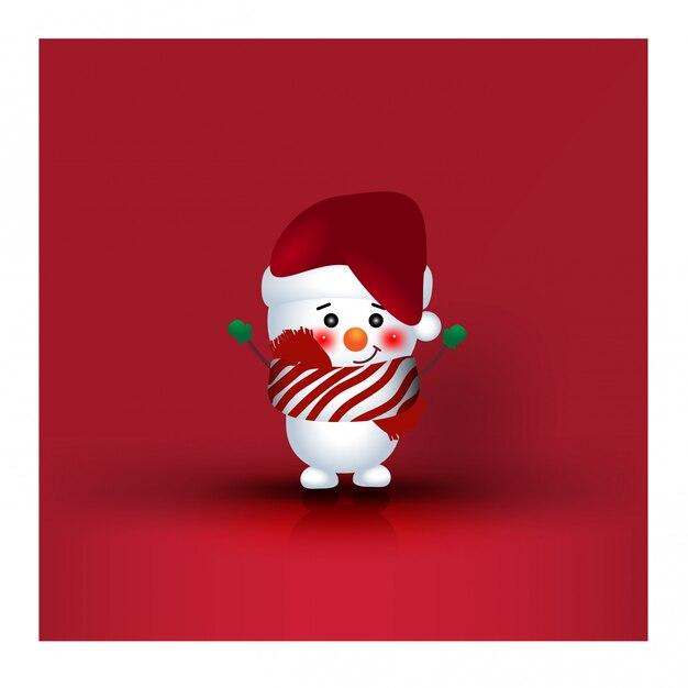 クリスマスキャラクター漫画雪だるま Premiumベクター