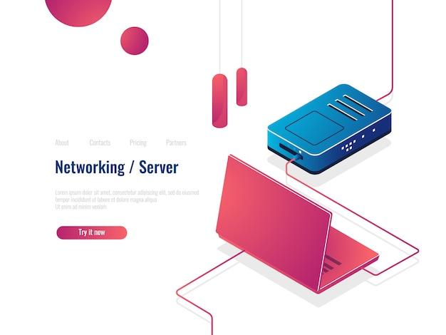 ノートパソコン、ルーター等尺性のアイコン、ネットワークの概念、サーバールームのデータを介してインターネットに接続 無料ベクター