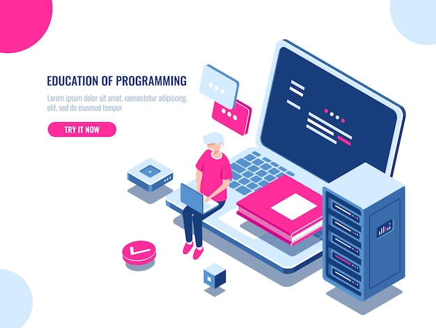 プログラミングの教育、若い男がノートパソコンで作業し、オンライン学習とインターネットコース 無料ベクター