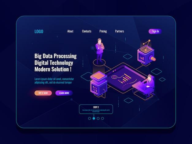 データ可視化概念等尺性バナー、データ分析、データセンター、ダークネオン 無料ベクター