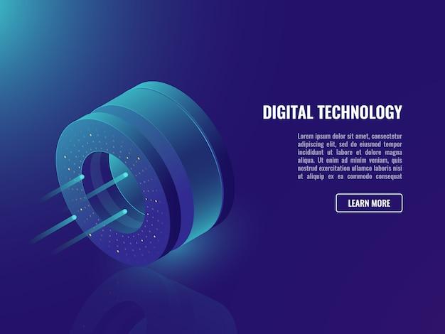 データサイエンスバナー、データと情報操作の概念 無料ベクター