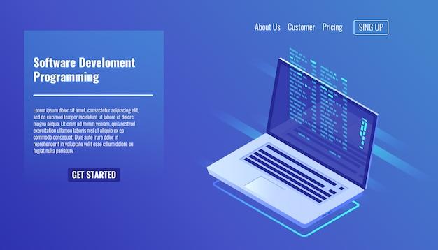 Разработка и программирование программного обеспечения, программный код на экране ноутбука Бесплатные векторы