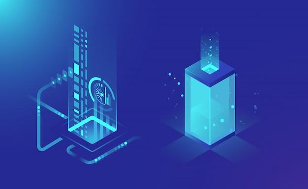 データの格納と処理、抽象的な技術要素、クラウドストレージのデータフロー 無料ベクター