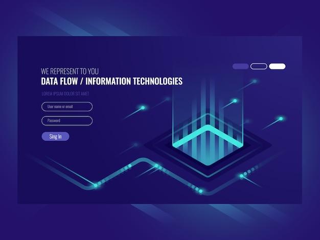 Концепция потока данных, информационные технологии, концепция высокотехнологичных технологий Бесплатные векторы