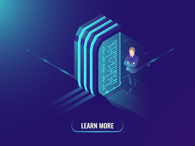 データ処理と情報管理、データサイエンスのコンセプト 無料ベクター
