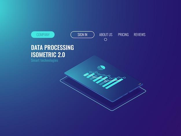 オンライン統計およびデータ分析サービス、画面上の聖歌とタブレット 無料ベクター