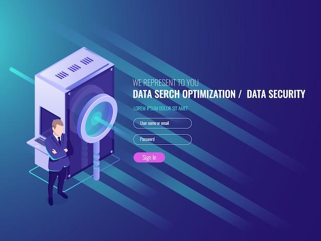 データ検索の最適化、情報サーバー、データベースの保護とセキュリティ 無料ベクター