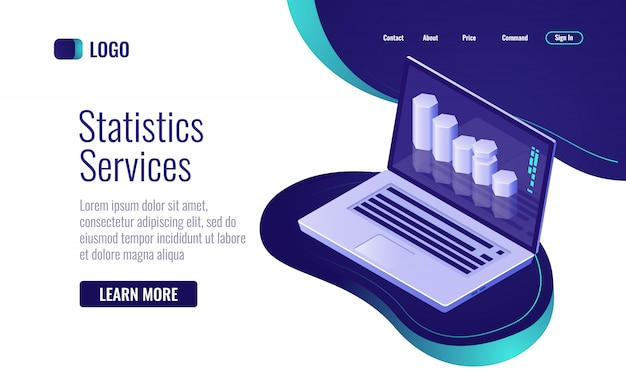 オンライン統計およびデータ処理、ノートパソコンの画面に情報棒グラフ 無料ベクター