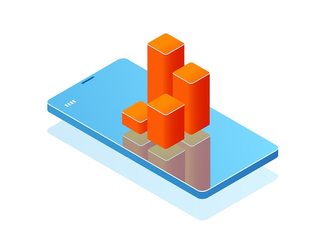 画面上の棒グラフ付き携帯電話、分析アプリケーション、スマートフォン付きバナー 無料ベクター