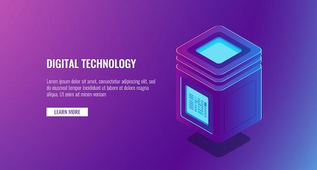 等尺性サーバールーム、個人データ保護の概念、ビッグデータ処理、データベースのアイコン 無料ベクター