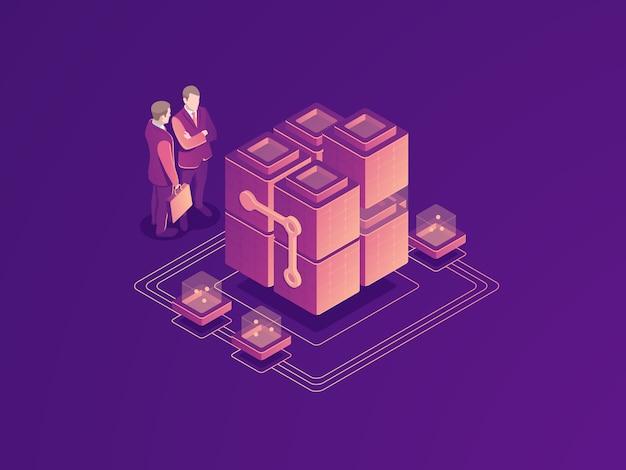 自動化されたビジネスプロセスのコンセプト、サーバールームラック、データセンター、データベースのアイコン 無料ベクター