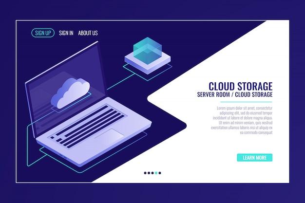 Удаленное хранение данных, технология облачных систем, открытый ноутбук с иконкой облака Бесплатные векторы