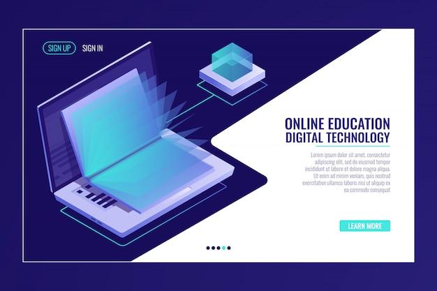 開いている本、オンライン教育の概念、電子図書館の学習とラップトップ 無料ベクター