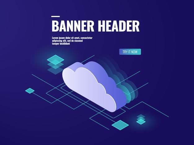Технология облачного хранения данных изометрическая иконка, серверная комната, база данных и центр обработки данных Бесплатные векторы