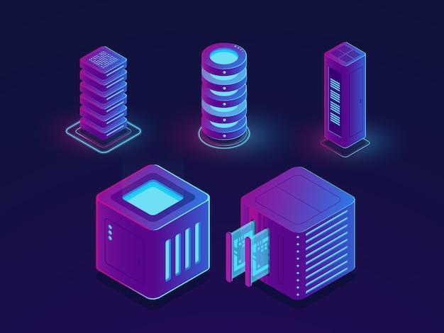 技術要素、サーバールーム、クラウドデータストレージ、将来のデータサイエンスの進歩のセット 無料ベクター