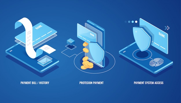 Электронный счет, онлайн-уведомление об оплате смс, история платежей, защита финансовых данных Бесплатные векторы