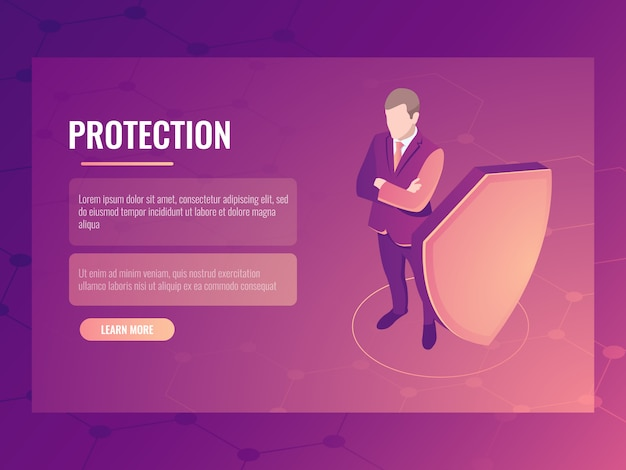 金融の安全性とリスク保護、シールドを持ったビジネスマン、データ保護の概念 無料ベクター