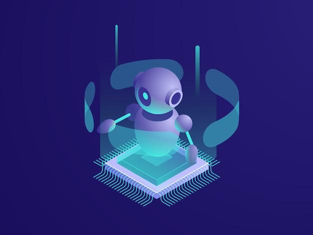Искусственный интеллект, робот, серверная комната, баннер с цифровыми технологиями, компьютерная техника Бесплатные векторы