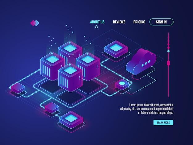 Изометрическое сетевое соединение, концепция топологии сети интернет, серверная комната Бесплатные векторы