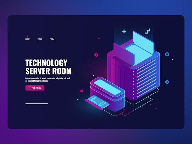 サーバールームのアイコン、データセンターとデータベースアクセスの概念、ウェブホスティング 無料ベクター