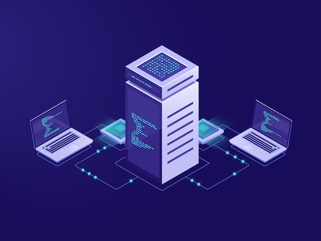 ビッグデータ処理の概念、サーバールーム、ブロックチェーンテクノロジのトークンアクセス 無料ベクター