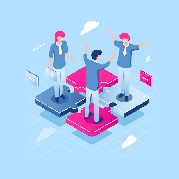 チームワークパズルコンセプト、抽象的なチーム等尺性ビジネスアイコン、人々のコラボレーション 無料ベクター