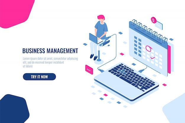ビジネスマネージャーの概念、カレンダー内のスケジュール、重要な事件やカレンダー上のイベントをマークします。 無料ベクター