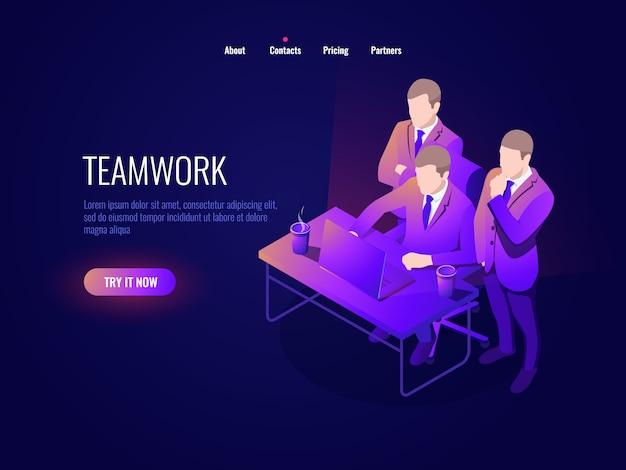Работа в команде значок изометрия, коллективное обсуждение, обсуждение проекта, запуск, управление бизнесом Бесплатные векторы