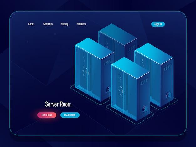 データクラウドストレージバナー、リモートファイルウェアハウス、テクノロジオブジェクトでの接続のアイコン 無料ベクター