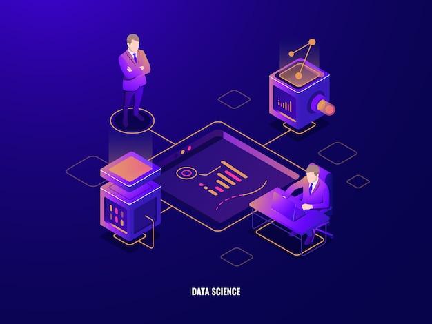 データ可視化の概念、人々チームワークアイソメトリックアイコン、企業、サーバールーム 無料ベクター