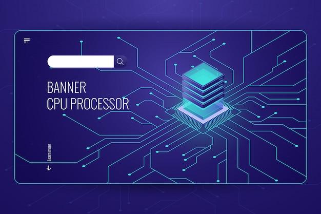 Обработка больших данных, изометрический баннер процессора процессора, передача и расчет сетевых данных Бесплатные векторы