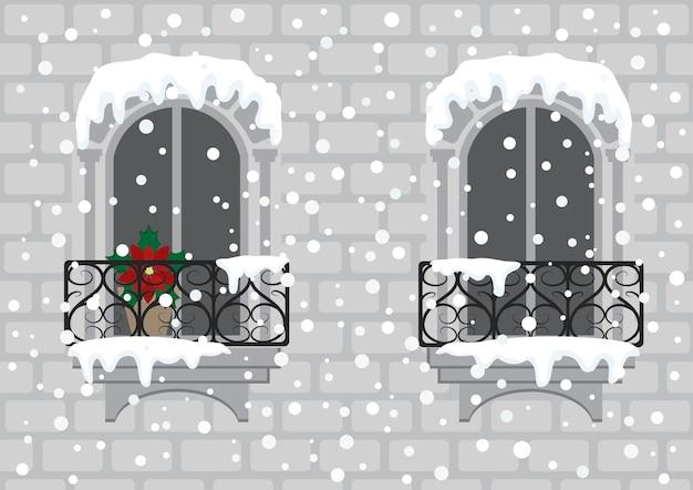 Окна с красным рождественским цветком Premium векторы