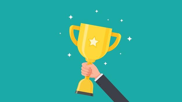トロフィーカップを保持し、賞を受賞しているベクトル図を表示する実業家の手 Premiumベクター