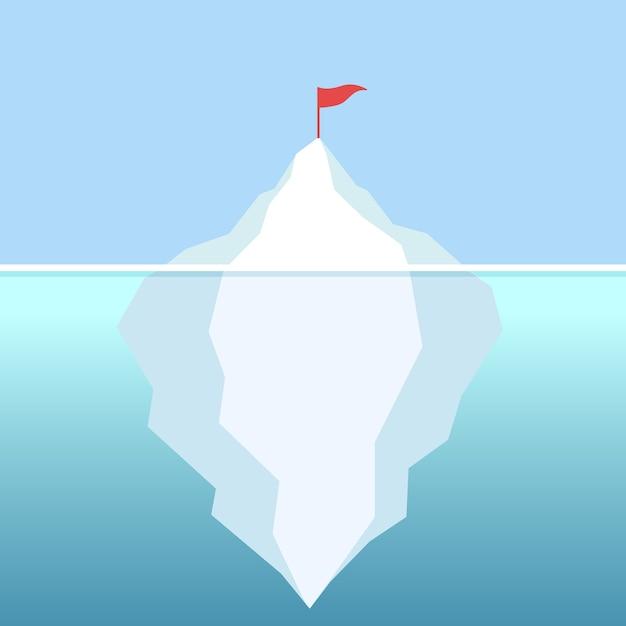 Флаг на айсберге с ясным небом Premium векторы