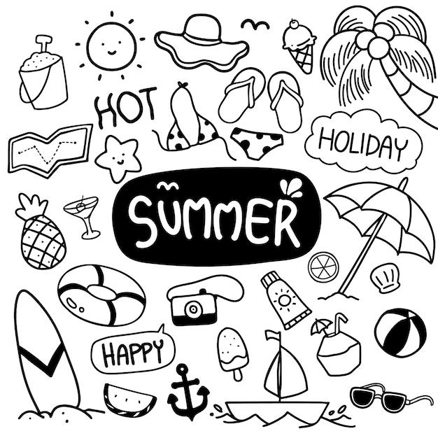 夏手描き落書きベクトル Premiumベクター
